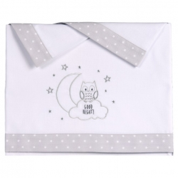 Conjunto sábanas cuna bebé NIGHT dibujo infantil bordado color gris
