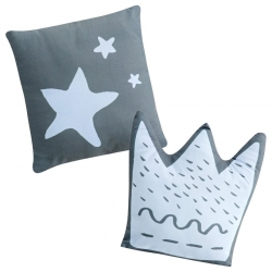 Set de 2 cojines con forma decorativa para cuna LITTLE CROWN azul